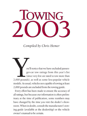 2003 Guide to Towing